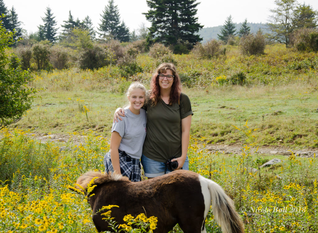My girls with a pony on Grayson Highlands